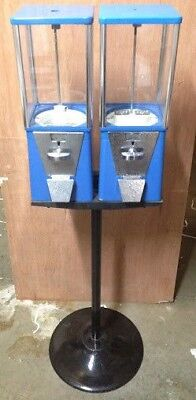 Two-way Oak Vista Candy Toy Gumball Vending Machine With Pipe Stand Olddirty
