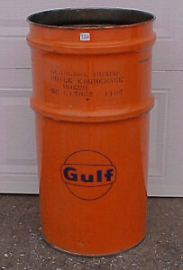 1970s GULF Oil Drum Gear Lube Barrel Can