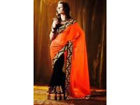 Orange and black saree