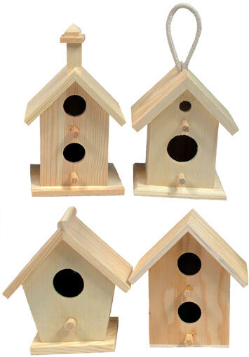 4-Pack of Mini 4 Inch Tall Birdhouses, 4 Styles, Unfinished Wood DIY Crafts Crafts