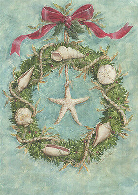 Coastal Wreath Warm Weather 18 Boxed Christmas Cards by LPG Greetings