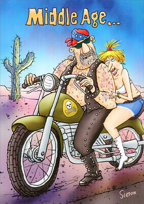 Middle Age Bikers Funny Birthday Card - Greeting Card by Oatmeal Studios Biker Greeting Cards
