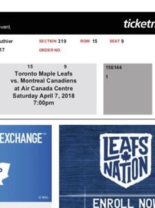Leafs vs Canadiens tickets