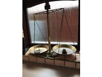Brass kitchen scales and weights