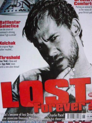 TV ZONE #195 - LOST - CHARLIE - DOMINIC MONAGHAN - BATTLESTAR + FREE PROMO CARD
