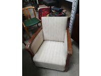 vintage retro Danish antique wooden wool armchair stripy beige chair