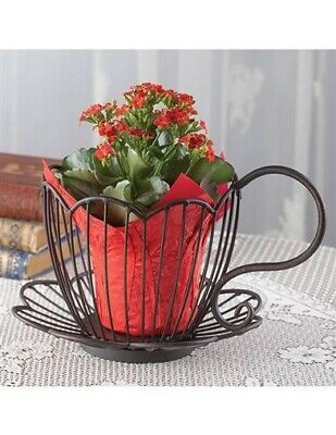 Victorian Trading Co. New Metal Wire Tea Cup Plant Holder Planter