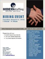 Hiring Event at the Leamington Employment Assessment Centre