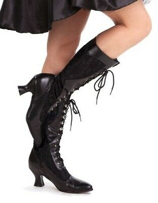Black Lace Up Victorian Edwardian Steampunk Costume Shoes Boots Womans 7 8 9 10 - Costume Boots Black