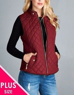 Women's Quilted Padded Vest with Suede Piping Detail(1XL, 2XL, 3XL PLUS SIZE