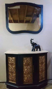 Marble top accent cabinet with mirror