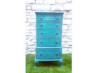 Teal Vintage Chest of Drawers suitable for kids room/nursery