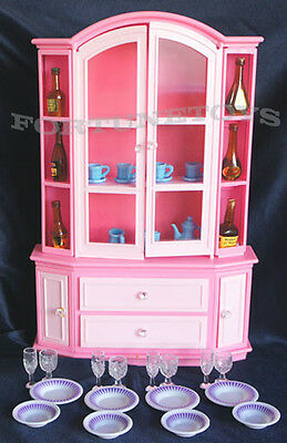 GLORIA FURNITURE BUFFET & HUTCH WINE CARAFES w/Dining Wares+Bottles FOR BARBIE
