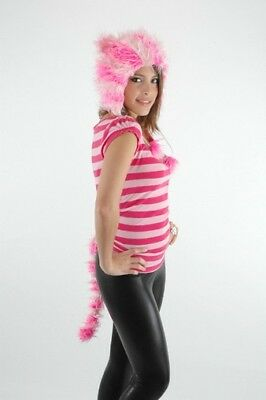 Furry Cheshire Cat Costume (CUTE Pink Striped KITTY Furry Hoodie Ears Hat & Tail Set cheshire cat costume)