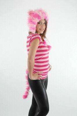Süss Rosa Gestreift Kitty Furry Hoodie Ohren & Schwanz Set Cheshire Cat - Rosa Kitty Kostüm