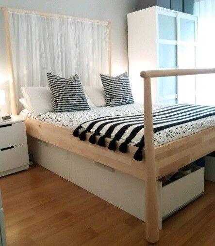 Gjora Bed Frame In Birch Leirsund Slatted Bed Base In