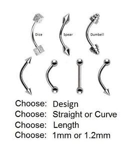 Eyebrow-Bar-STEEL-Barbell-Spike-Ball-Dumbell-Spear-Length-6mm-8mm-10mm