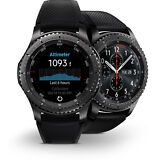 Mint Samsung Galaxy Gear S3 Frontier 46mm Watch Stainless Steel Case Black Band