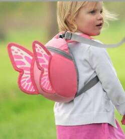 Girl's Little Life Pink Butterfly Backpack/Reigns