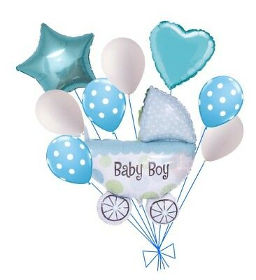 Baby Shower Balloon Decorations (9pc Baby Boy Cart Balloon Bouquet Party Decoration Baby Shower Booties)