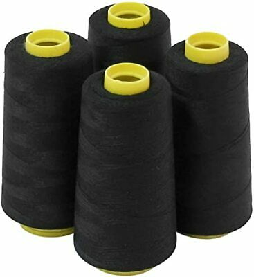 4Pcs 6000 Yards Quality Overlocking Sewing Machine Polyester Thread Cone, Black