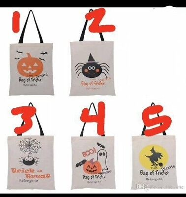 PERSONALIZED- Halloween Trick or Treat Loot Gift Bags Large Canvas Tote Bag