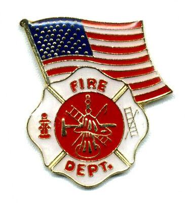 Wholesale Lot of 12 Fire Dept. Emblem Fire Fighter USA Flag Lapel Pins RTG4869