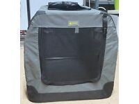 Pet crate, soft grey with carry case. Folds flat.