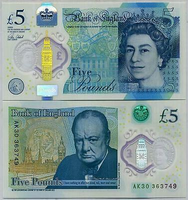 GREAT BRITAIN 5 POUNDS ENGLAND UK 2016 QE II Victoria POLYMER CHURCHILL UNC