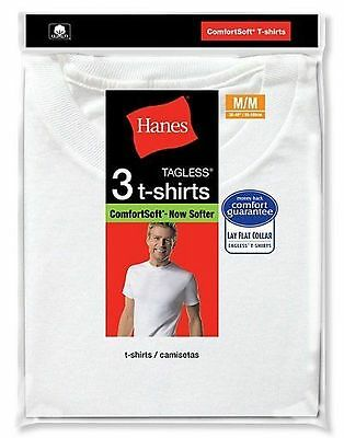 3 Pack Hanes  White Crew Neck T-Shirt Undershirt Size S-XL Best