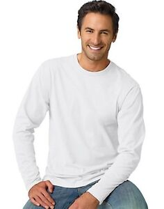 Hanes TAGLESS Nano-T Mens Long-Sleeve Tee Shirt - style 498L