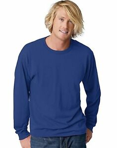 Hanes-TAGLESS-EcoSmart-Mens-Long-Sleeve-T-Shirt-style-24269