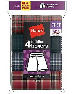 4-Pack Hanes Best Toddler Boys Tartan Boxer Underwear Assorted Colors 2T/3T &