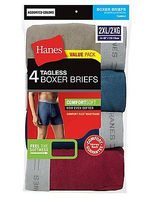 4 Pack Hanes Best Seller Big Men's TAGLESS Boxer Briefs Black/Grey  3X-4X (Best Mens Boxer Briefs)