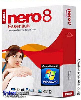 Nero 8 Essentials CD/DVD Brennsoftware + Lizenz für XP/Vista/Windows 7 NEU