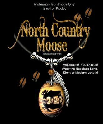 NORTH COUNTRY MOOSE NECKLACE - PENDANT JEWELRY ART CHARM ELK DEER - FREE SHIP -