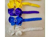 """Girls large bundle of 3"""" hair bow clips and bun rings"""