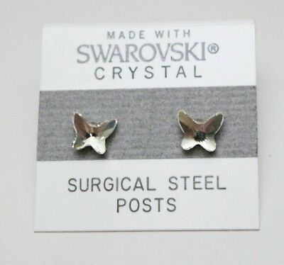 Small Butterfly Earrings - Silver Crystal Butterfly Stud Earrings 7mm Small Made with Swarovski Elements