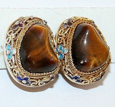 ANTIQUE DECO SILVER GOLD PL TIGERS EYE FILIGREE ENAMEL CHINESE BIG CLIP EARRINGS