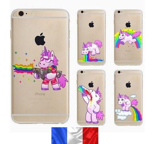 Coque  silicone souple pour iphone 7 et iphone 8 , licorne drole , arc en ciel