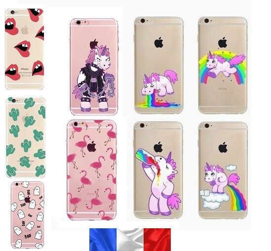 Coque en Gel silicone souple , Iphone 5 / 5S / 5SE , Licorne arc en ciel ,drole