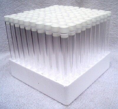 100 x Test tubes with tops & tray,150mm x 16mm, White stoppers and tray included