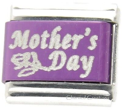 Purple Kids Charm - Mothers Day Rose Purple Laser Link For 9mm Italian Charm Bracelets Mom Kids