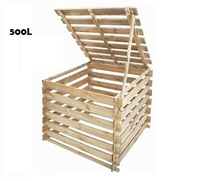NEW! SALE! 500L Wooden Compost Bin Composter Recycle + LID / COVER 500L in stock