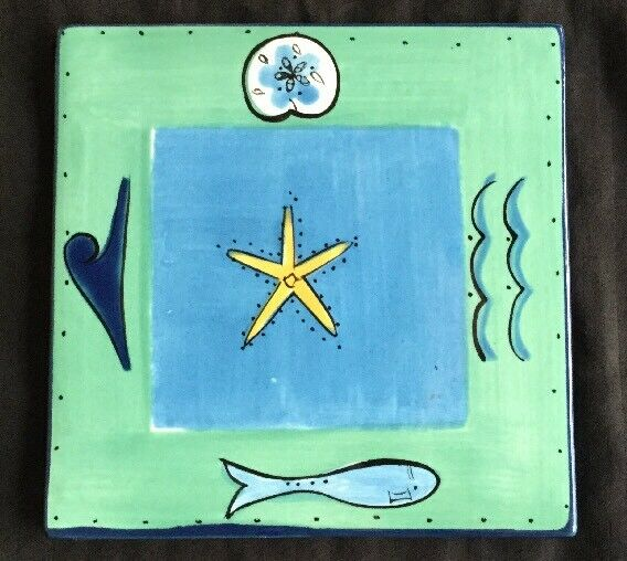 KIC Brushes Painted Starfish Ocean Tropical Hawaiian Trivet Spoon Rest Blue Tile