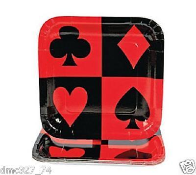 8 Casino Vegas Poker Alice In Wonderland PAPER Party CARD SUIT Dinner PLATES - Casino Plates