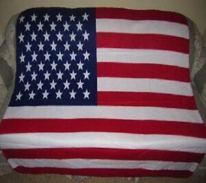 New Patriotic US USA American Flag Polar Fleece Throw Blanket 4th of July SOFT