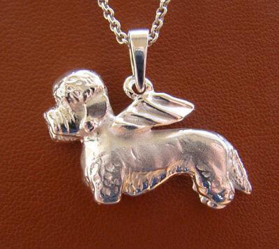 Sterling Silver Dandie Dinmont Terrier Angel Pendant