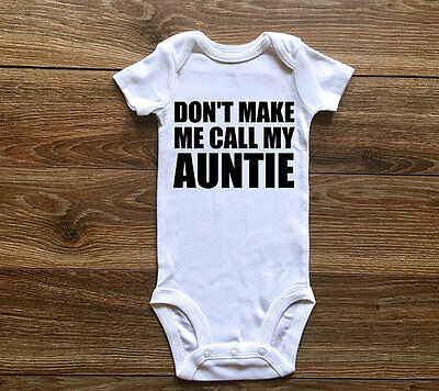 (Funny Baby Boys Girls AUNTIE Romper Bodysuit Newborn Clothes Sunsuit Outfit US)