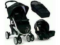 Graco Quattro Tour Sport Travel System (pushchair, car sear, carry cot) VGC